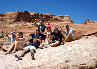one group made a strenuous 0.5-mile climb to see the delicate arch from far away