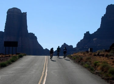 katie ross, raffi, and jake riding up into the canyons to get to capitol reef, UT