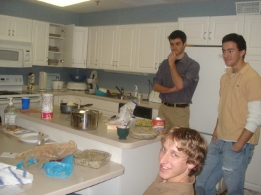 Dan, Ben, and Chris in the Hope Lodge kitchen for Thanksgiving