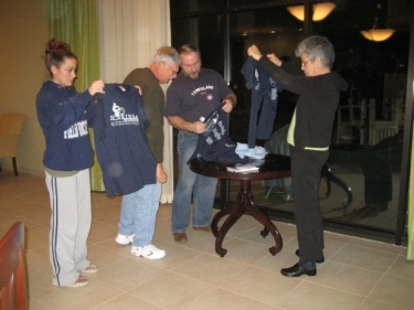 Handing out T-shirts at the Hope Lodge.